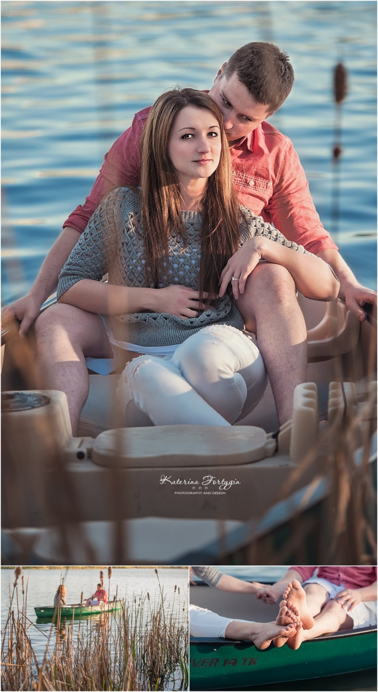 Green Lake Romance - engagement session with future bride and groom in canoe